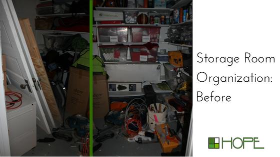 storage room organization ideas, before