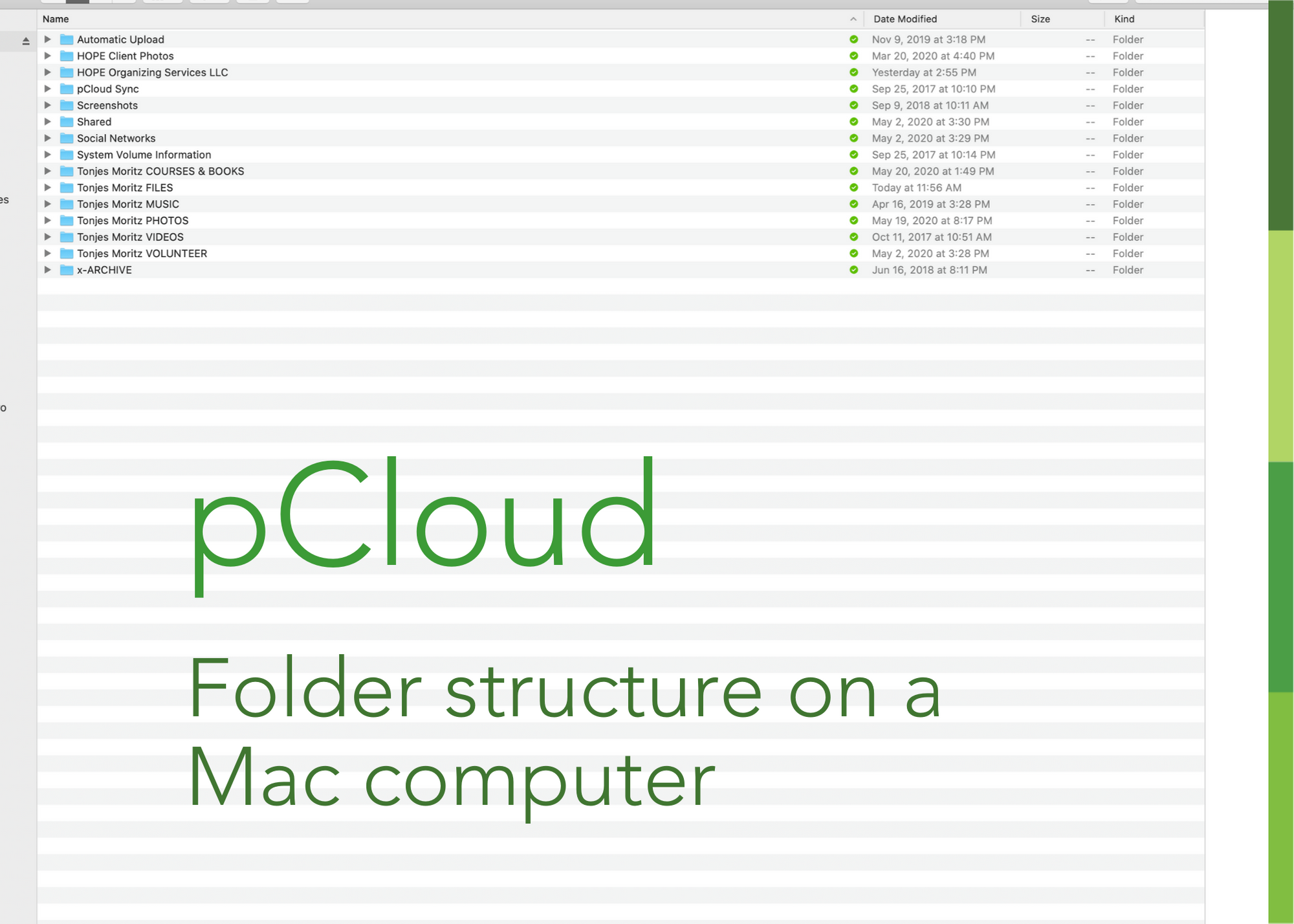 pcloud folders on Mac computer