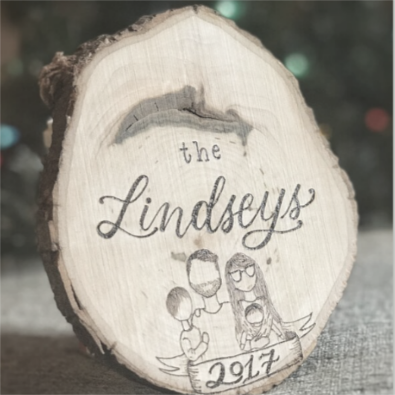 Woodburning Christmas Ornament