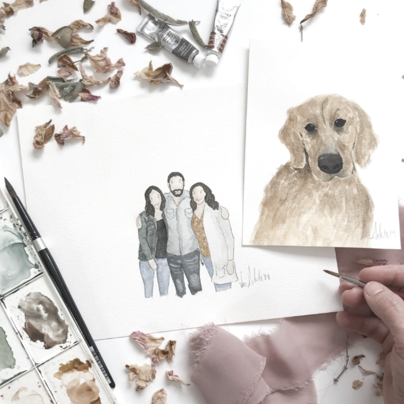 Water Color of Dog and a Family