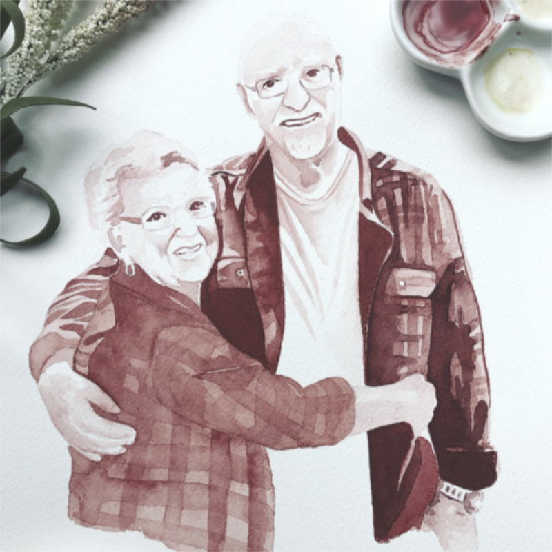 Water Color of an Older Couple